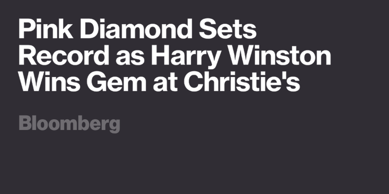 Pink Diamond Sets Record as Harry Winston Wins Gem at Christie's