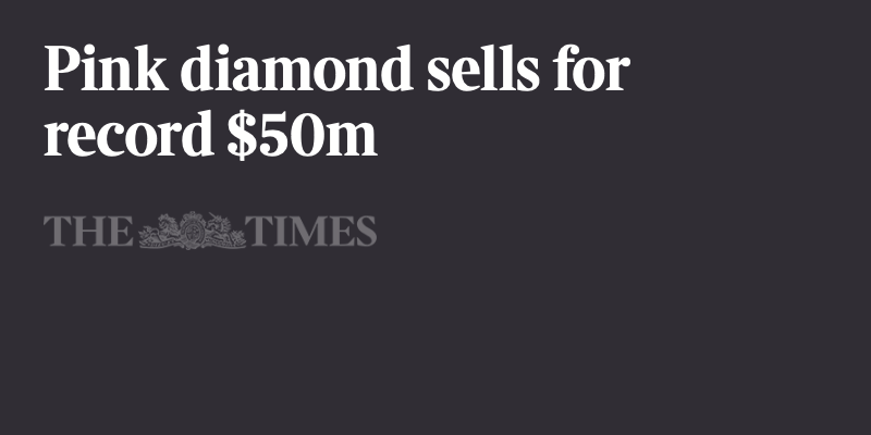 Pink diamond sells for record $50m