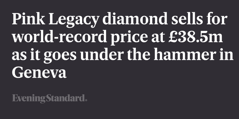 Pink Legacy diamond sells for world-record price at £38.5m as it goes under the hammer in Geneva