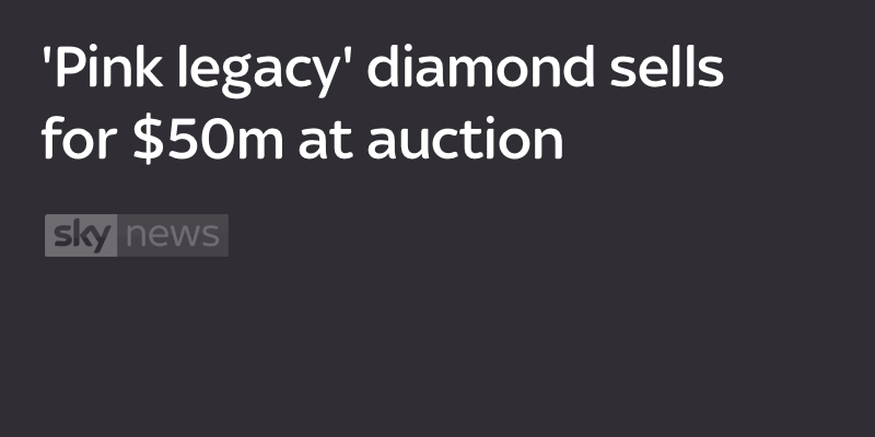 'Pink legacy' diamond sells for $50m at auction